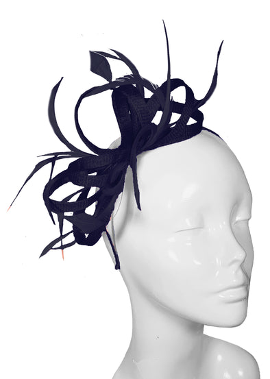 The Bombshell 'Finishing Touch' Fascinator Navy Blue