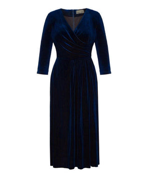 Navy 'Stretch Luxe' Bombshell 3/4 Sleeve Dress Velvet Washing Washable Event Feel Good Comfy
