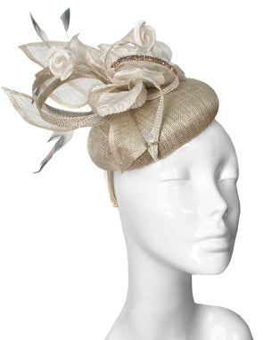 The Bombshell Pillbox Hat Champagne Lurex