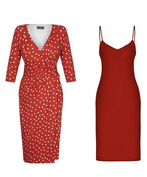 Bombshell 3/4 Sleeve Jersey Dress Red Polkadot with slip