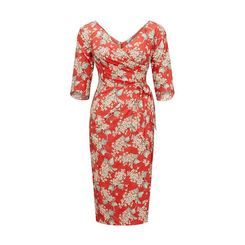 Bombshell 3/4 Sleeve Dress in Soft Red Liberty Archive Lilac Print