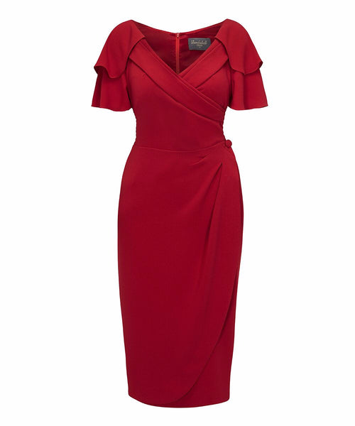 Gatsby 3/4 sleeve royal red Bombshell sarong pencil dress