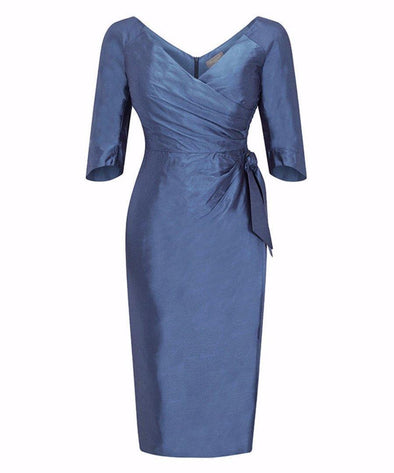 Bombshell dress Bombshell London Silk Dupion Heron Blue Mother of the Bride Wedding Event Occasion Party Cocktail Dressy