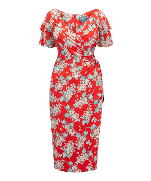 Bombshell Garden Party Dress in Liberty Hot Red Archive Lilac Silk Crepe de Chine