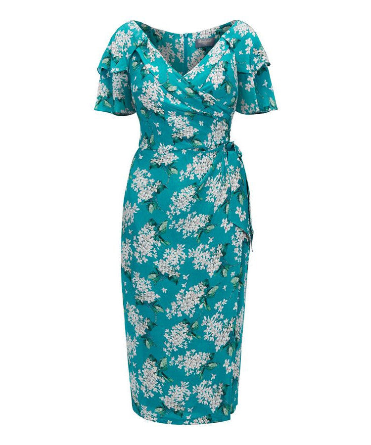 Bombshell Garden Party Dress in Liberty Turquoise Archive Lilac Silk Crepe de Chine
