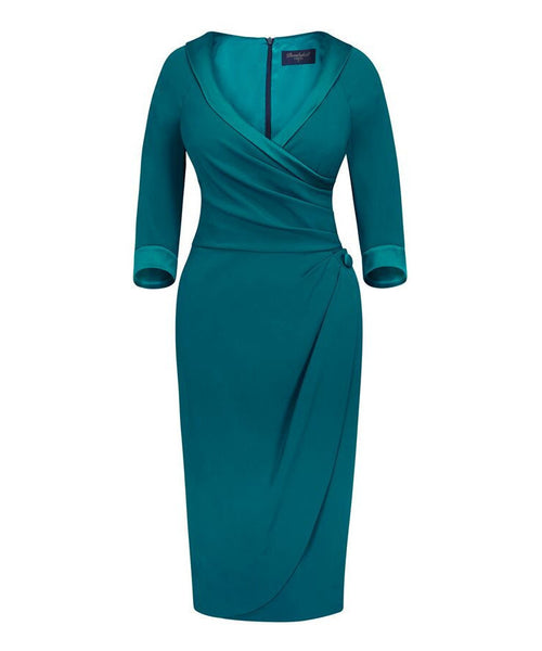 Invitation Teal Pencil Sarong Dress