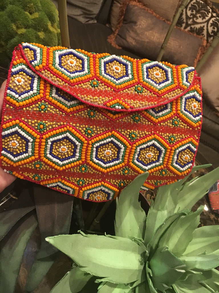 Pentagon Beaded Clutch
