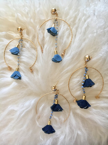 Denim Rosette Earrings