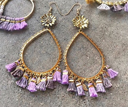 Lavender Tassel Drop Earrings