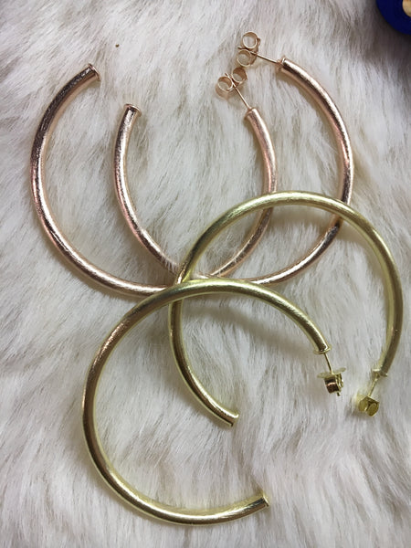 Hammered Gold, Gunmetal and Rose Gold Hoops