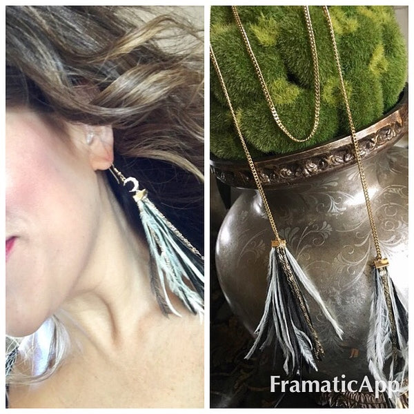Feather Moon Earrings