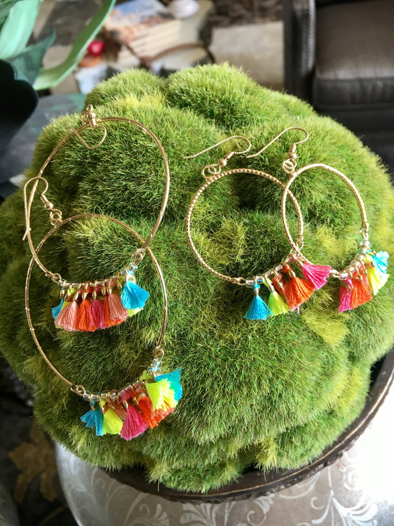 Multi-Color Dangle Hoops Small