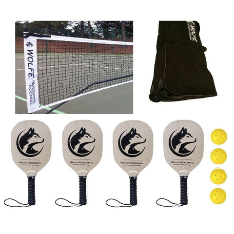 Wolfe Sports Portable Pickleball Net Set with Paddles and Balls