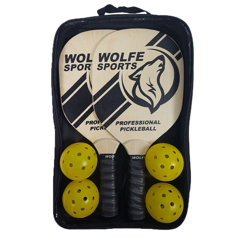 Wolfe Sports Wooden Pickleball Paddle Set