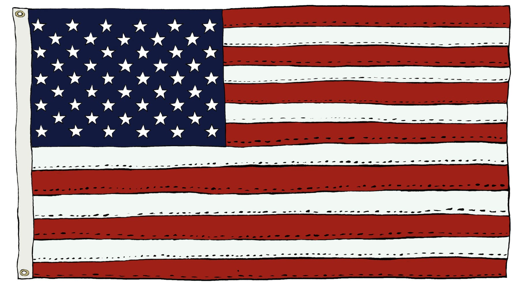 Hand drawn sketch in color of US Flag