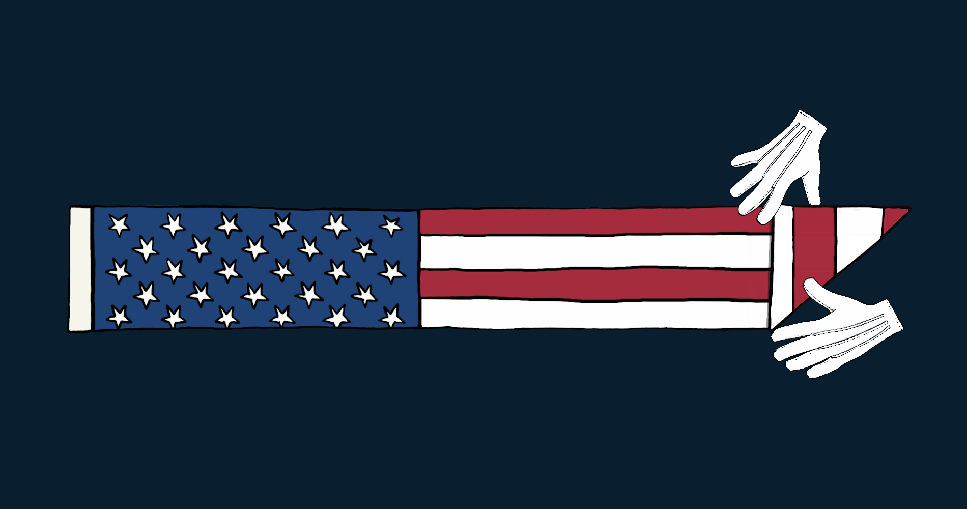 Two hands folding the American Flag