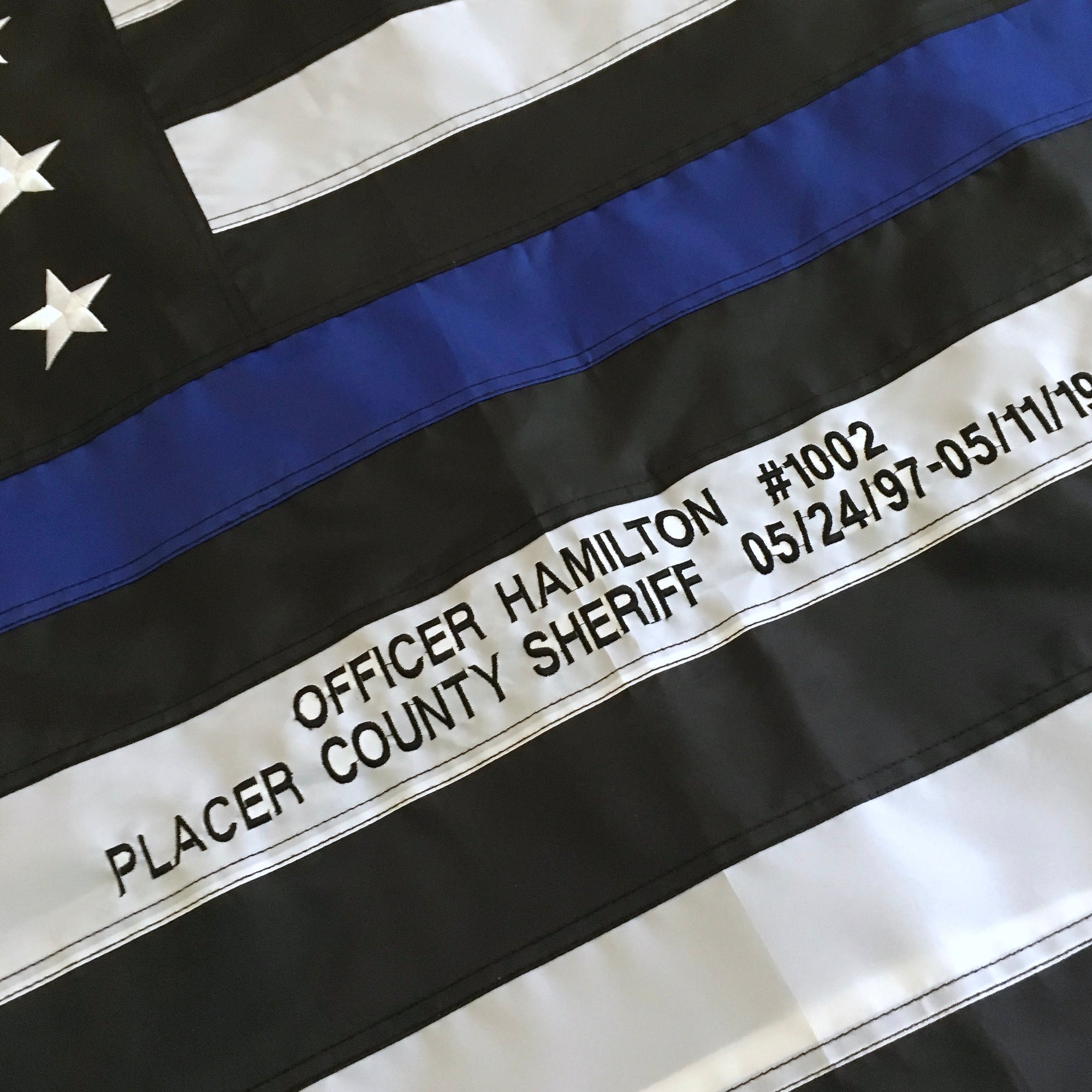Custom Embroidery on Thin Blue Line Flag