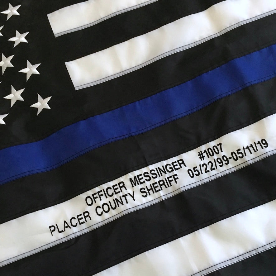 Officer stats embroidered on Thin Blue Line Flag