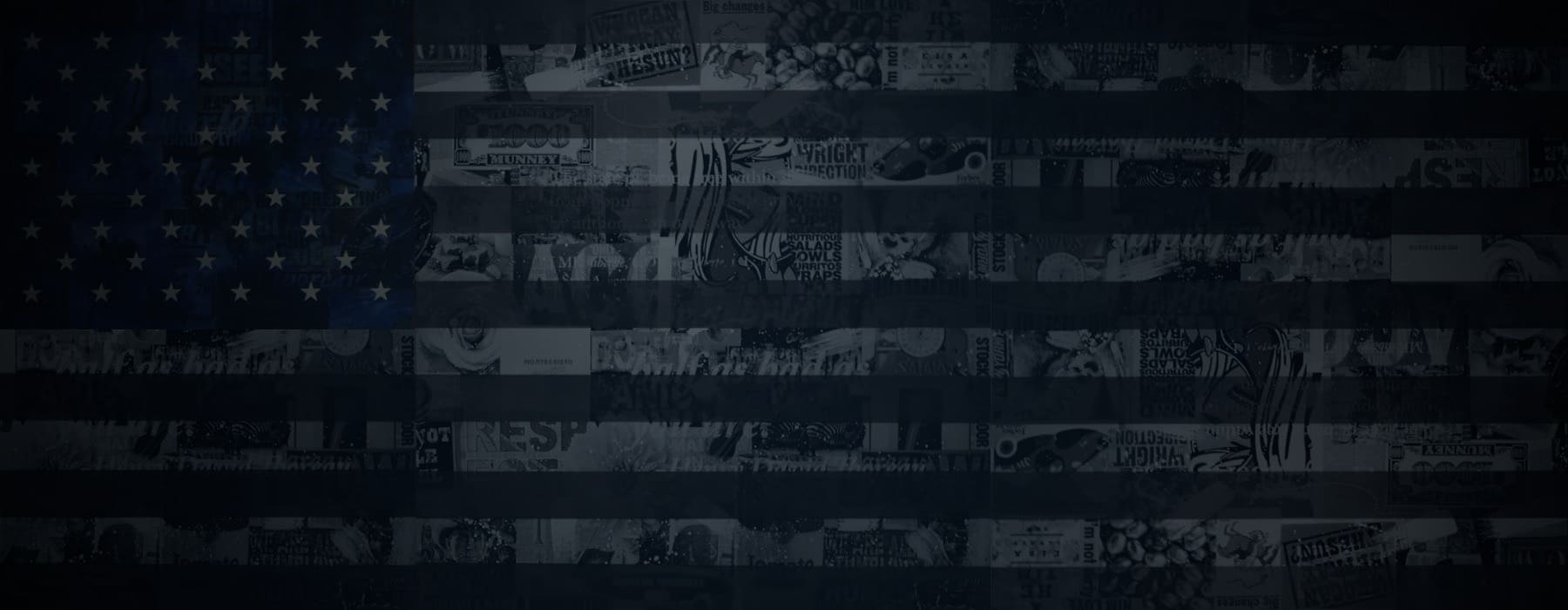 American Flag Image in dark black and blue tones and rich graphic icons embedded in the art