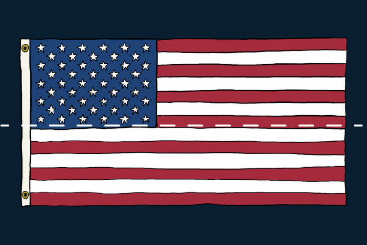 US Flag with dotted fold line