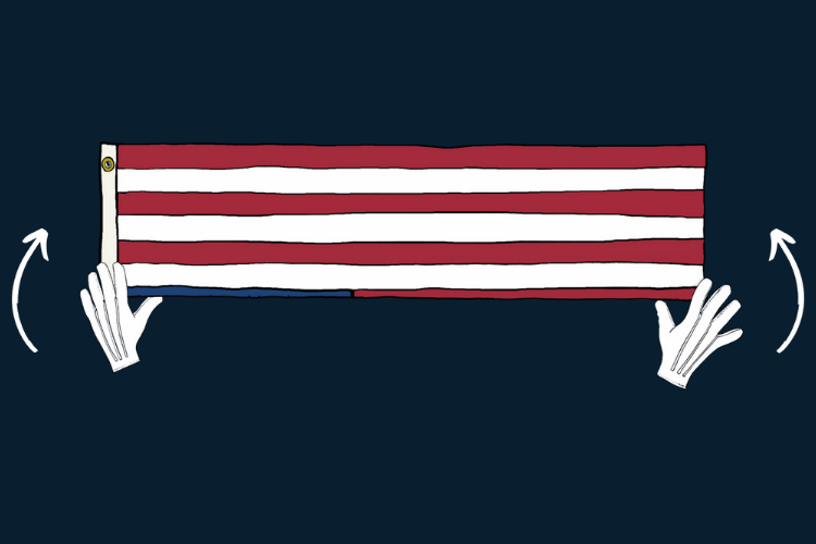 American flag folded in half lengthwise