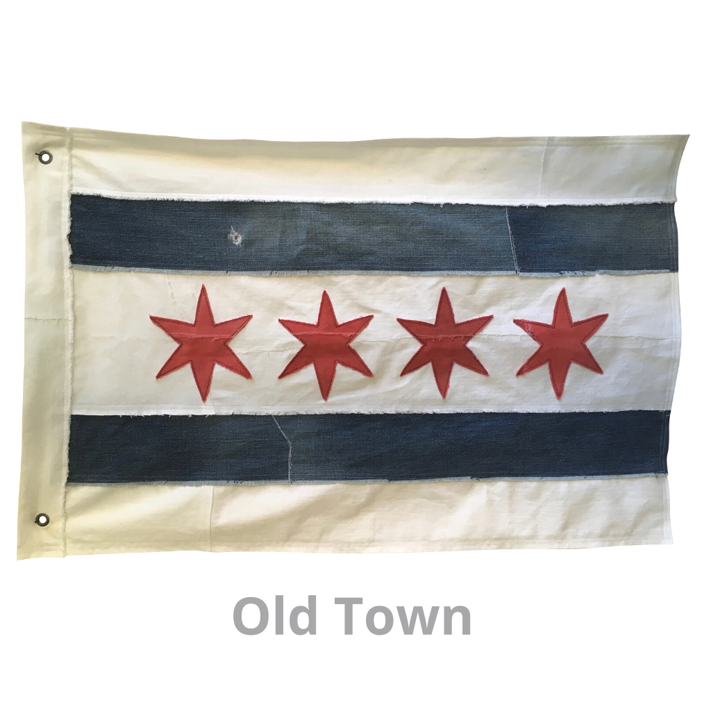 Chicago flag made from recycled denim