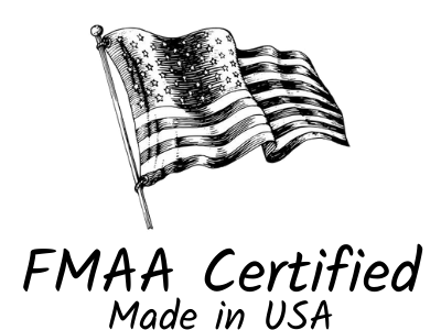 black and white ink line drawing of the American flag FMAA certified