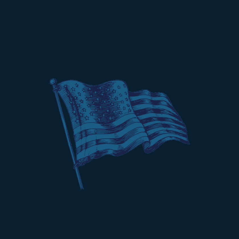Image of Waving American Flag in rich blue tones