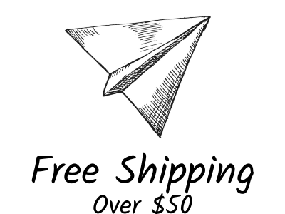 Ink line drawing of a paper airplane overlaying text that says free shipping over $35