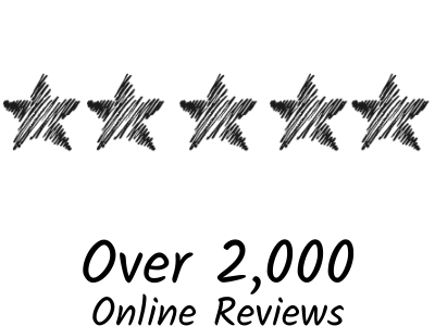5 stars and text saying over 2000 online reviews