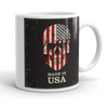 Coffee mug with American flag on skull print reads Made in USA