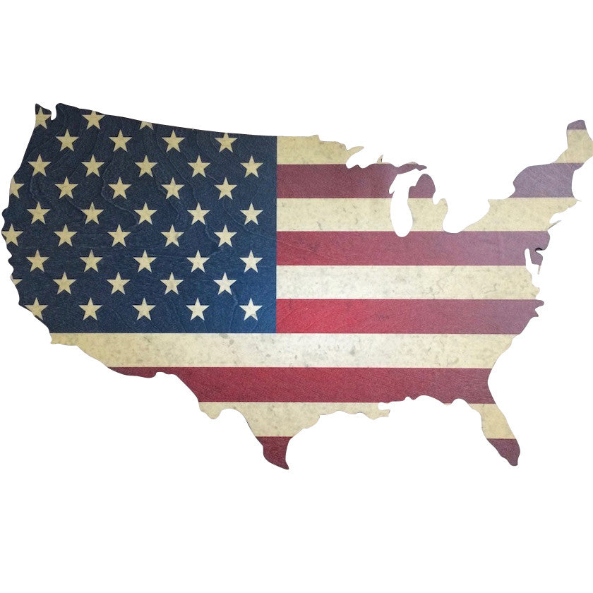 2a075220043 Red White and Blue American flag print on laser cut wood US map