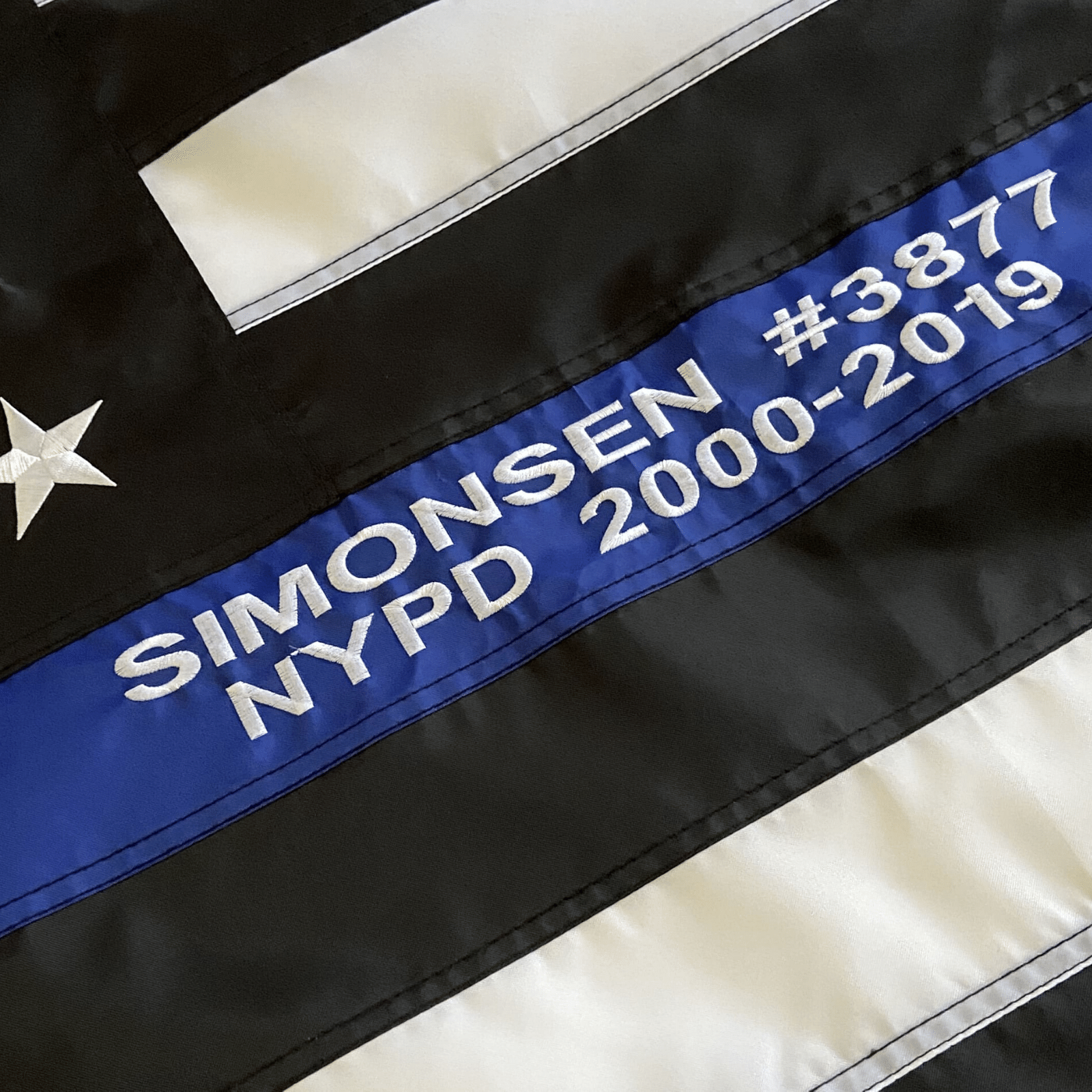 police Flag with custom embroidery - officer name