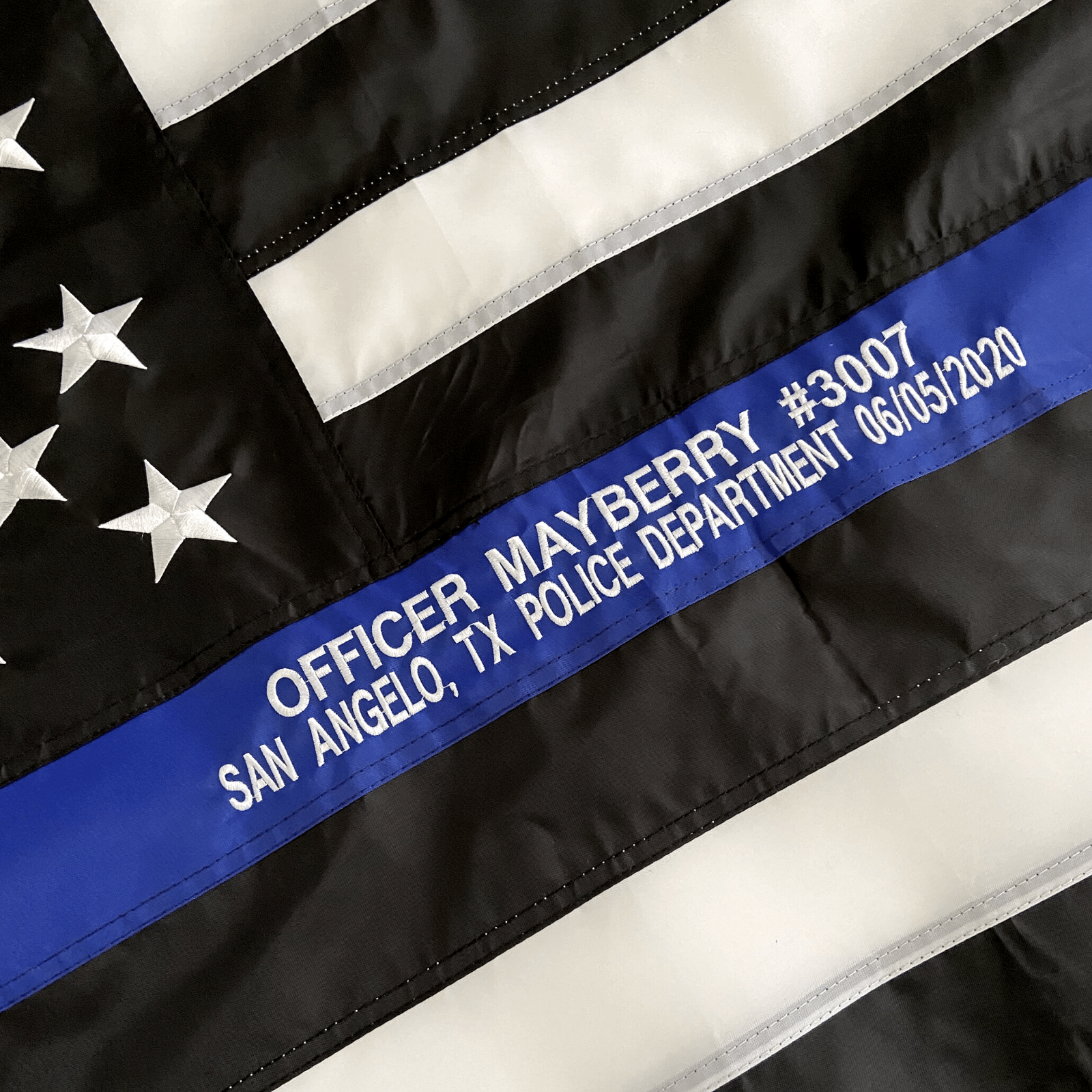 Thin Blue Line Flag with custom embroidered officer name