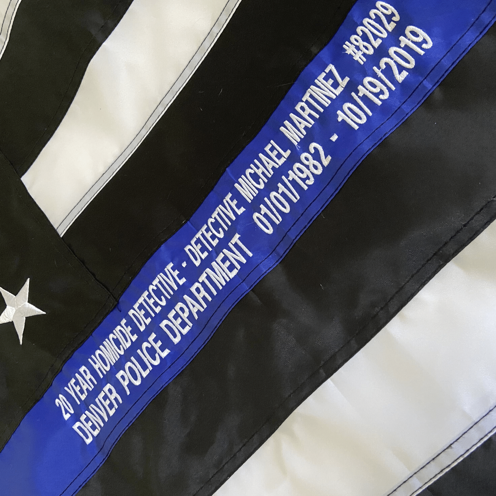 Thin Blue Line Flag with custom embroidery officer name