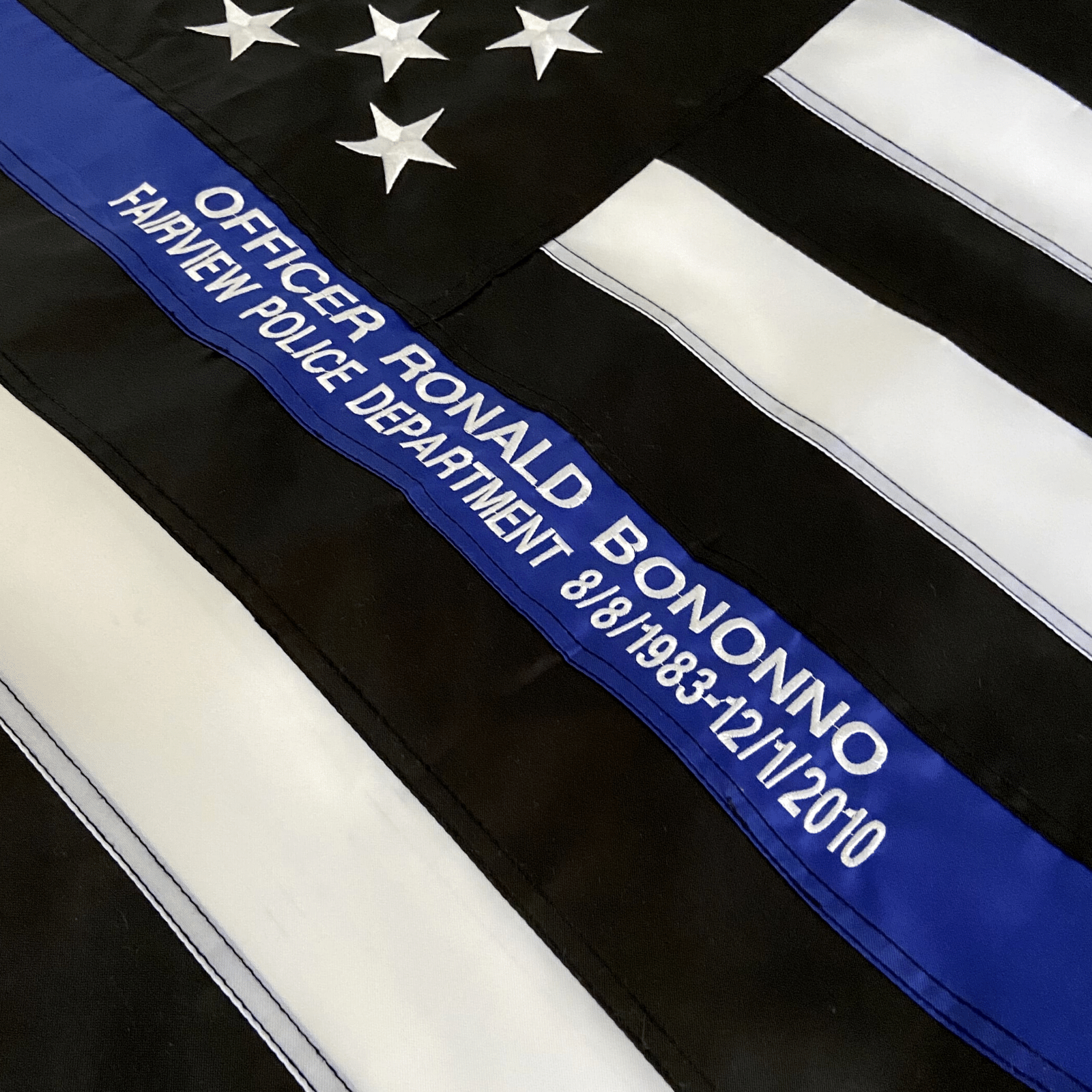 Thin Blue Line Flag custom embroidery officer name