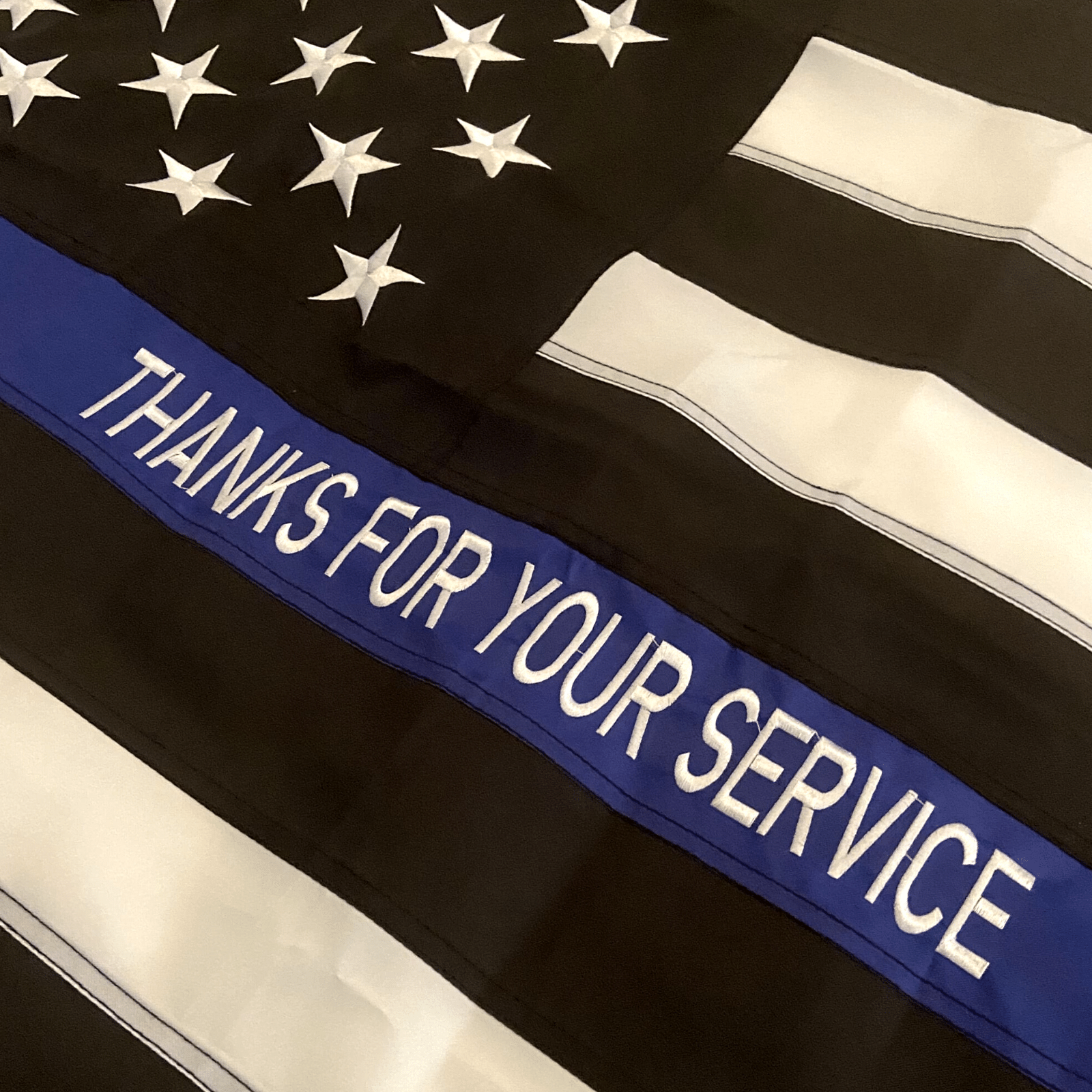 Thin Blue Line Police Flag with custom embroidery thanks for your service