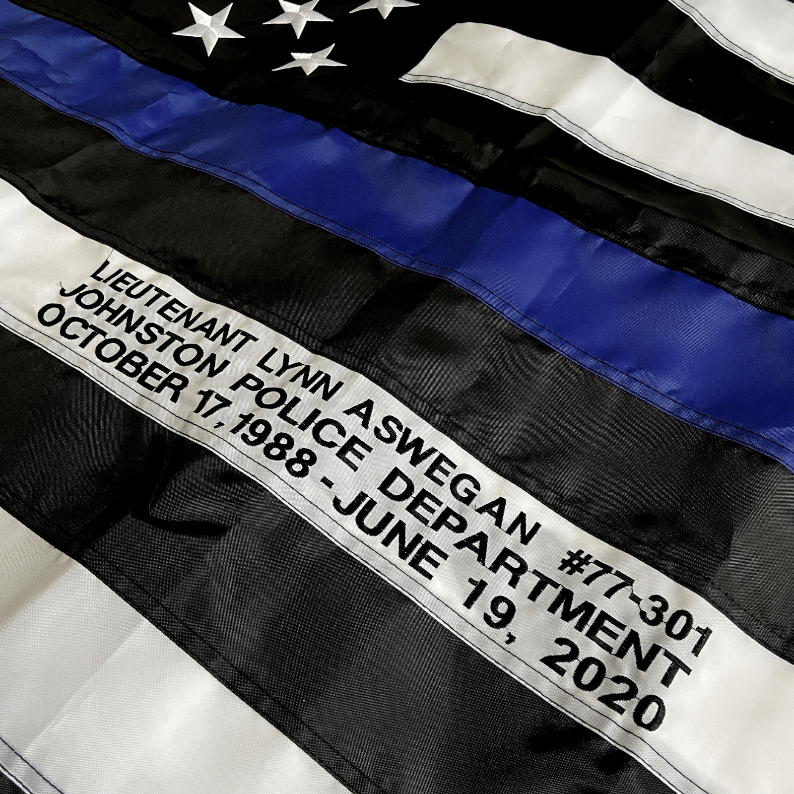 Thin Blue Line Flag custom embroidered officer name