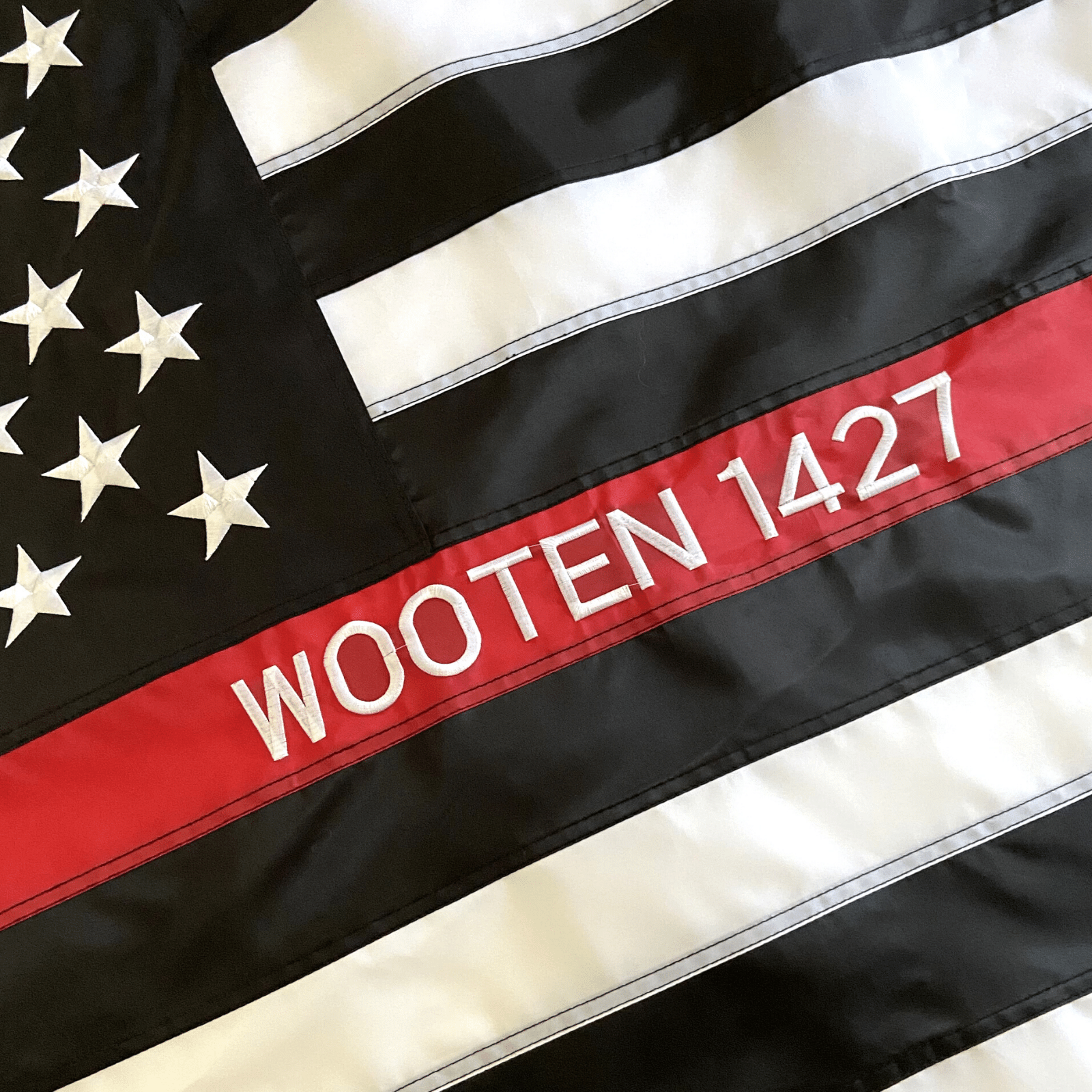 Thin Red Line Flag with custom embroidery firefighter name wooten