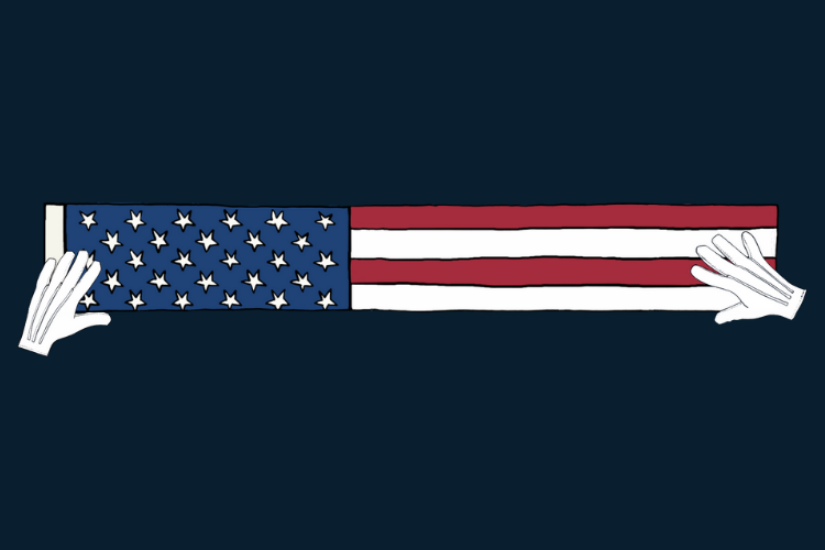 American flag folded in half a second time