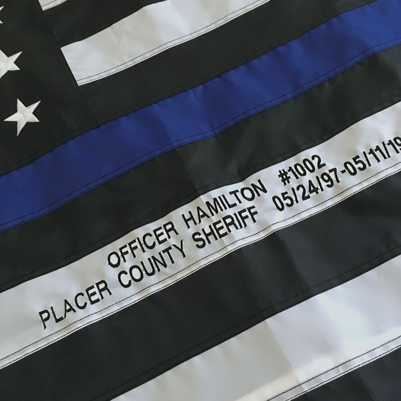 Police flag with custom embroidery