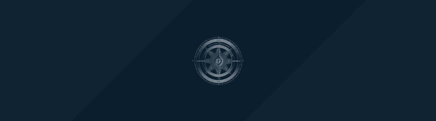 Dark blue background with a compass image overlaying a single stripe