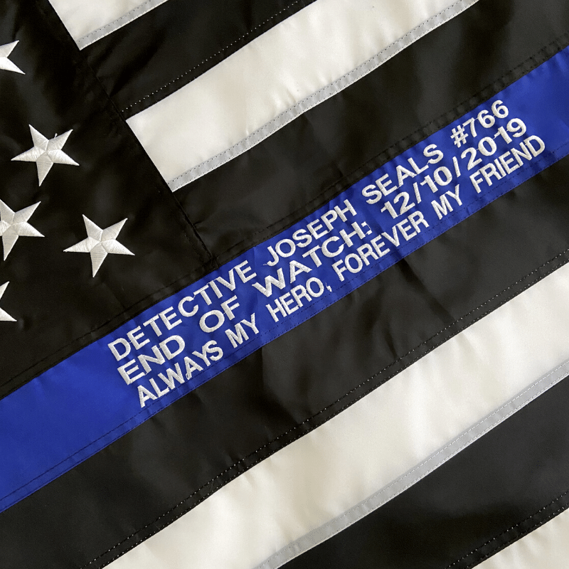 Peronalized Thin blue Line Flag with Officer name and dates