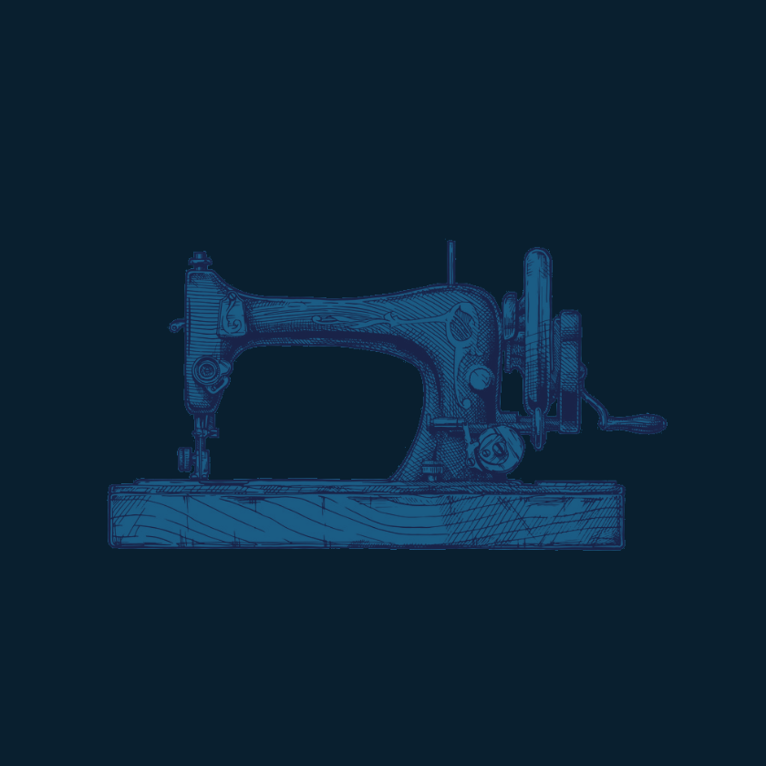 Ink line drawing of an antique sewing machine on dark blue background