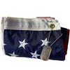 American Flag folded with dog tag 2.5x4