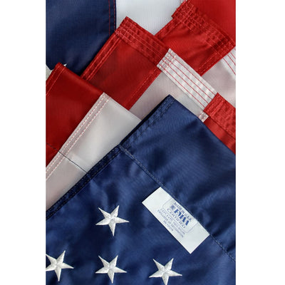 close up of 2.5x4 foot American flag pole hem sleeve