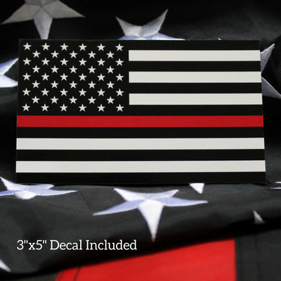 Firefighter Thin Red Line Flag Decal on nylon flag