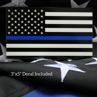 Thin Blue Line Police back the Blue sticker on flag