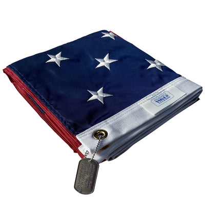 4x6 US Flag folded with dog tag