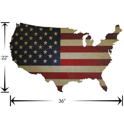 "36 Inch by 22"" wood US map with vintage American Flag print"